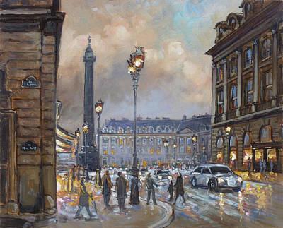 Evening Lights Painting - Place Vendome, Paris by Irek Szelag