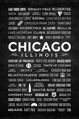 Art Print featuring the digital art Places Of Chicago On Black Chalkboard by Christopher Arndt