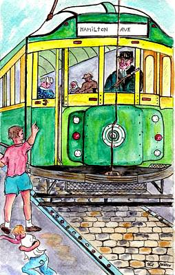 Placing Bottle Caps On The Trolley Tracks Art Print