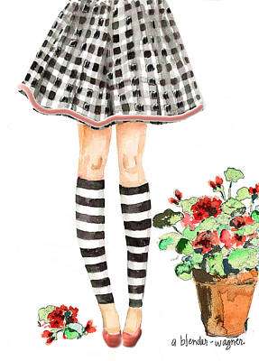 Girls Mixed Media - Plaid And Stripes by Arline Wagner