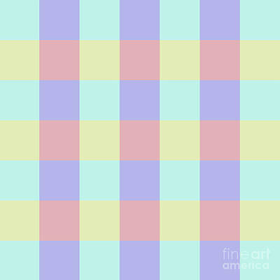 Photograph - Plaid Blue Soft Yellow Rose Blush Lavender Cyan Tetradic Colour Blocks by Sharon Mau