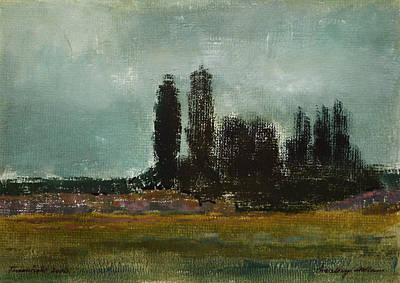Painting - Plain With Poplars by Attila Meszlenyi