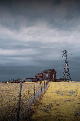Photograph - Plains Frontier Windmill And Barn At 1880's Town In Infrared by Randall Nyhof