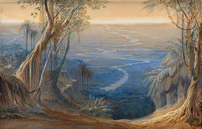 Drawing - Plains Of Bengal From Above Siligoree by Edward Lear