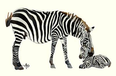 Plains Zebras Art Print by Angeles M Pomata