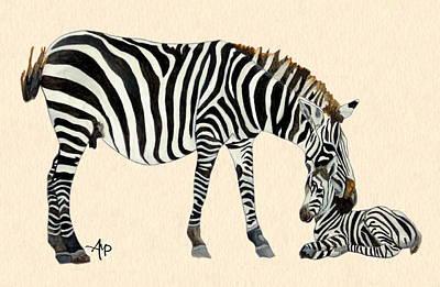 Plains Zebras Watercolor Art Print by Angeles M Pomata