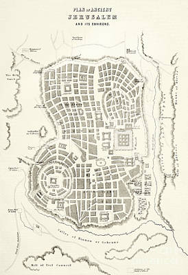 Jerusalem Drawing - Plan Of Ancient Jerusalem As It Was Presumed To Be At The Time Of Jesus Christ by English School