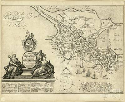 Boston Drawing - plan of Boston in New England 1728 by Baltzgar