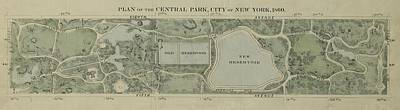 Photograph - Plan Of Central Park City Of New York 1860 by Duncan Pearson