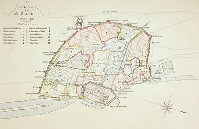 Plan Of Delhi In 1857 - 1858. From The Art Print by Vintage Design Pics