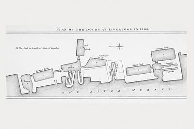 Dock Drawing - Plan Of Liverpool Docks As They Were In by Vintage Design Pics