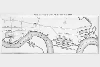 Dock Drawing - Plan Of London Docks As They Were In by Vintage Design Pics