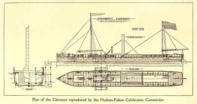 Plan Of Robert Fultons First Steamboat Art Print