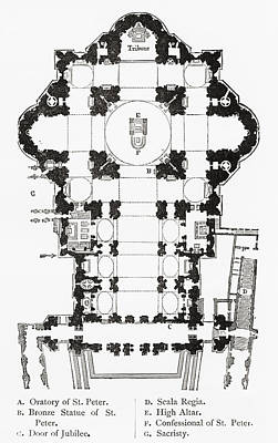 Basilica Drawing - Plan Of St. Peter S Basilica, Vatican by Vintage Design Pics