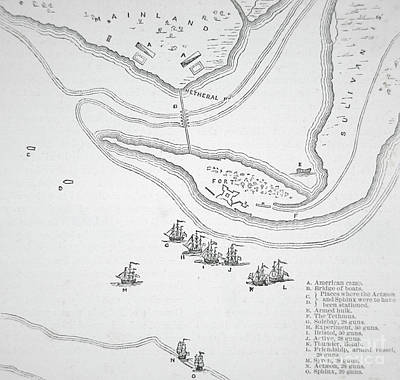 Plan Of The Attack On Sullivan's Island, 1776 Art Print by American School