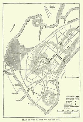 Drawing - Plan Of The Battle Of Bunker Hill, 1775 by American School
