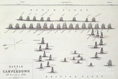 Netherlands Map Drawing - Plan Of The Battle Of Camperdown, 11th October 1797 by Alexander Keith Johnston