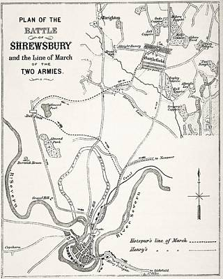 Medieval Battle Drawing - Plan Of The Battle Of Shrewsbury by Vintage Design Pics
