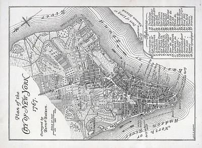 Plan Of The City Of New York Art Print by American School