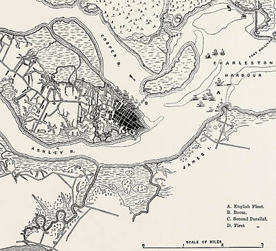 Plan Of The Siege Of Charleston Art Print by American School
