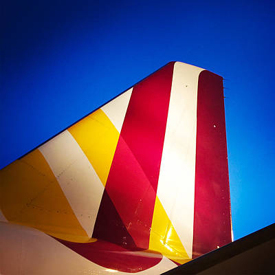 Plane Abstract Red Yellow Blue Art Print by Matthias Hauser