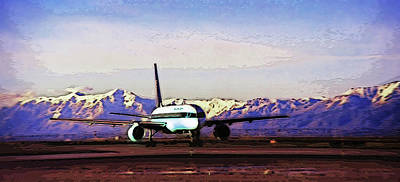 Watercolor Mobile Photograph - Plane At Airport 3 by Steve Ohlsen