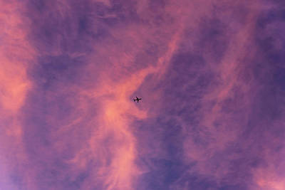 Photograph - Plane At Sunset by Steven Richman