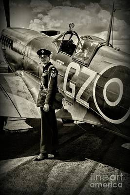 Photograph - Plane - British Spitfire And Pilot by Paul Ward