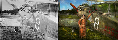 Dh Photograph - Plane - First One-stop Flight Across The Us - 1921 - Side By Side  by Mike Savad