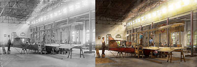 Airplane Photograph - Plane - In The Airplane Factory 1918 - Side By Side by Mike Savad