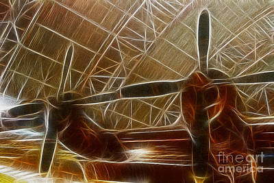 Fractalius Photograph - Plane In The Hanger by Paul Ward