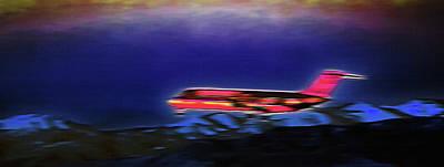 Plane Landing At Airport - The Red Eye Flight Art Print by Steve Ohlsen