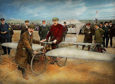 Photograph - Plane - Odd - Easy As Riding A Bike 1912 by Mike Savad