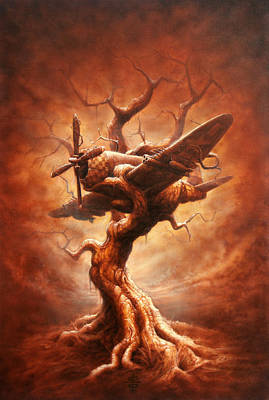 Surrealism Wall Art - Painting - Plane Old Tree by Victor Whitmill