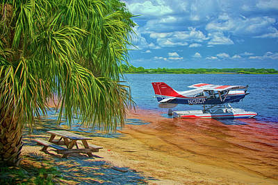 Art Print featuring the photograph Plane On The Lake by Lewis Mann