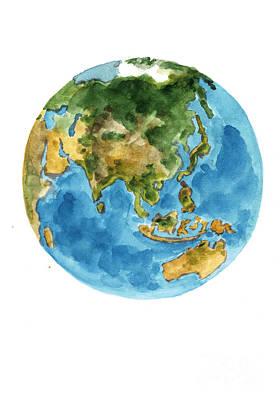 Planet Earth Watercolor Art Print Painting Print by Joanna Szmerdt