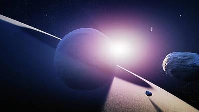 Planet Saturn Sunrise Art Print