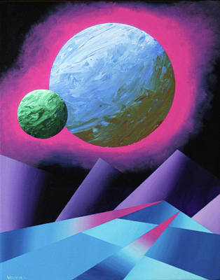 Planet X Abstract Landscape Painting Art Print by Mark Webster