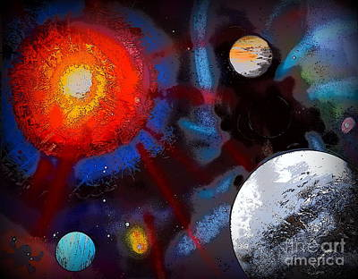 Comics Painting - Planets And Moon Illustration Edition by Justin Moore