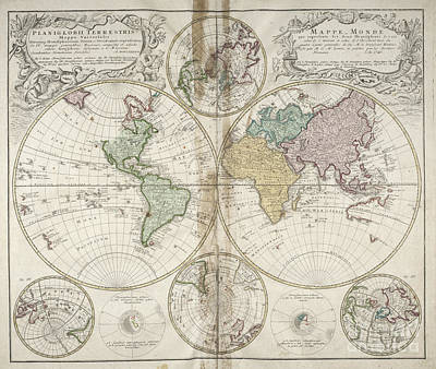 Photograph - Planiglobii Terrestris Mappa Universalis World Map 1746 by Rick Bures