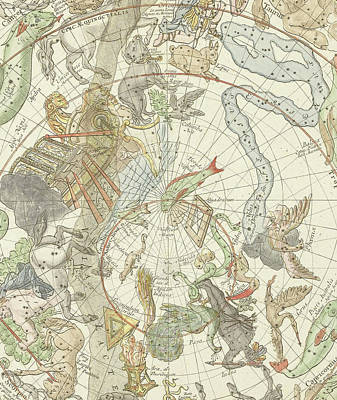 Constellation Drawing - Planisphaerii Coelestis Hemisphaerium Meridionale by Carel Allard