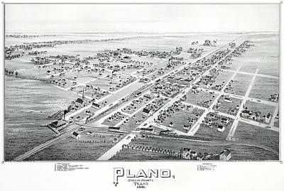 Photograph - Plano Texas Old Map by Rospotte Photography
