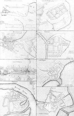 Town Square Drawing - Plans Of The Principle Towers, Forts And Harbors In Ireland  by English School
