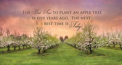 Spring Scenery Mixed Media - Plant An Apple Tree by Lori Deiter