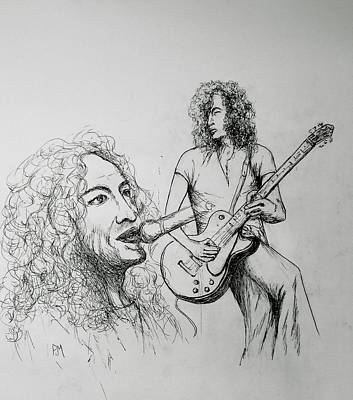 Led Zeppelin Drawing - Plant And Page by Pete Maier
