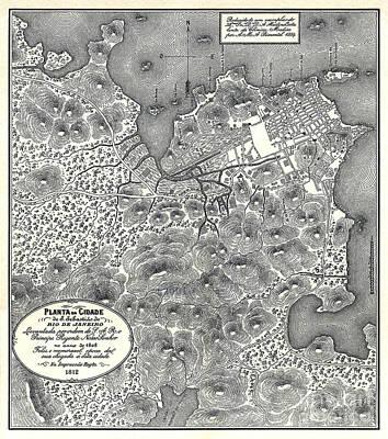 Old Map Painting - Planta Da Cidade De S. Sebastiao Do Rio De Janeiro - 1911 by Pablo Romero