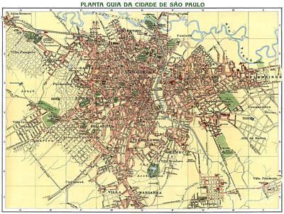 Old Map Painting - Planta Guia Da Cidade De Sao Paulo by Pablo Romero