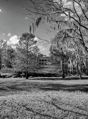 Photograph - Plantation House With Spanish Moss One Black And White by Joshua House