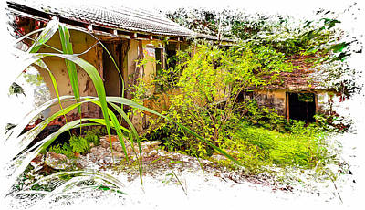 Watercolor Typographic Countries - Plantation Ruins by John M Bailey