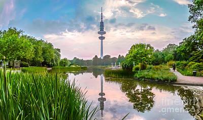 Planten Um Blomen Park With Heinrich-hertz-turm At Sunset, Hamburg Art Print by JR Photography
